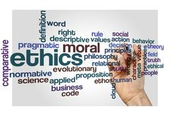 Ethics moral philosophy background Stock Photos