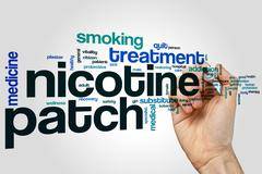 Nicotine patch word cloud Stock Photos