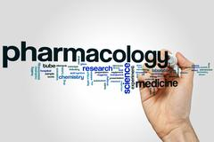 Pharmacology word cloud Stock Photos