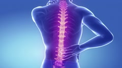 Spine pain in cervical region - backbone concept Stock Footage