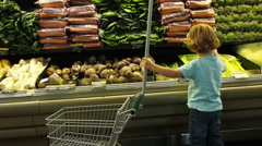 Little Boys Shopping In Health Food Store - stock footage