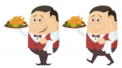 Waiter with Turkey, Seamless Loop Stock Footage