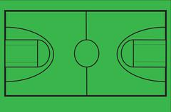 Diagram of basketball court to scale on chroma green screen for video use. Stock Illustration