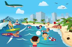 Stock Illustration of People on the Beach