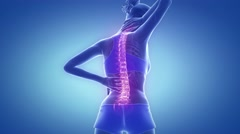 Female spine hurt and neck pain - backbone concept Stock Footage