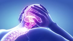 sick man with pain, headache, migraine, stress, insomnia, hangover in hand ho - stock footage