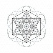 metatron outline seed of life sacred geometry. - stock illustration