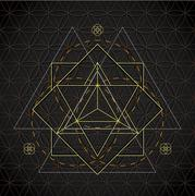 Merkaba outline flower of life sacred geometry. Stock Illustration