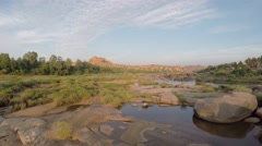 Tungabhadra River in Hampi. Stock Footage