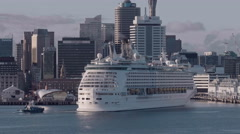 Cruise Ship Explorer of the Seas arrives in port, Auckland, New Zealand - stock footage