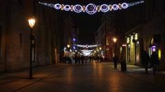 Florianska Street in Krakow Old Town, Poland Stock Footage