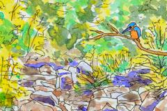Art background of a kingfisher in the countryside. - stock illustration