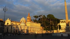 Basilica of Santa Maria del Popolo in Rome, Italy Stock Footage
