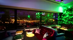 Travel through interior of modern restaurant Extra Lounge Moscow. Stock Footage