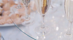 Glasses of champagne on the banquet Stock Footage