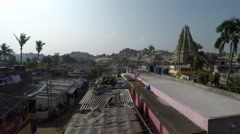 Flying over the Indian village of Hampi. Stock Footage