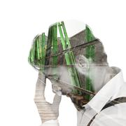 Composite image of frustrated hipster with head in hand - stock illustration