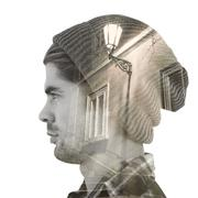 Stock Illustration of Composite image of profile view of confident hipster