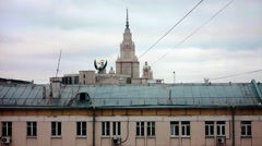 The Moscow university. Veiw from multi-storey residential buildings of the 60s Stock Footage