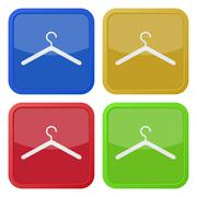 Set of four square icons with clothes hanger Stock Illustration