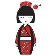 Oriental Japanese geisha  doll with kimono with orinetal flowers and  stick w - stock illustration
