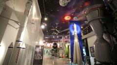 Rocket propulsion units at the Memorial Museum of Cosmonautics. - stock footage