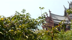 Sanctuary of truth thai temple  elements with gardens dolly shot Stock Footage