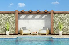 Stock Illustration of Relax in a garden with swimming pool