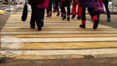 School children crossing a road Stock Footage