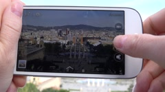 4K Woman hand take photo mobile phone Placa Espanya Barcelona landmark day icon Stock Footage