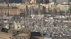 4K Panoramic view crowded Barcelona old Port Vell tourism attraction Barceloneta Stock Footage