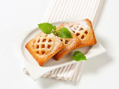 Little lattice-topped pies with apricot filling Stock Photos