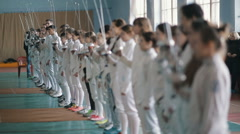 young fencers with rapiers before competition - stock footage