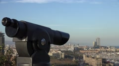 4K Binocular telescope tool observation desk Barcelona panoramic view old town  Stock Footage