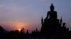 Buddhist Statue Silhouette Timelapse Sunset Stock Footage