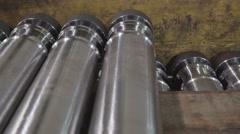 Big metal tubes on the box - stock footage