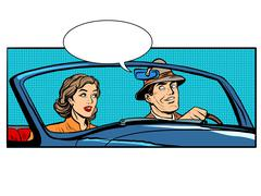 Couple man and woman in convertible car - stock illustration