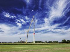 Construction of wind turbine, Alpen, Wesel, North Rhine-Westphalia, Germany - stock photo