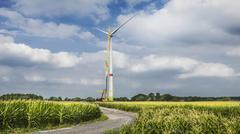 Construction of wind turbine, Alpen, Wesel, North Rhine-Westphalia, Germany Stock Photos
