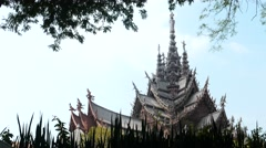 Sanctuary of truth temple dolly shot in plants window Stock Footage