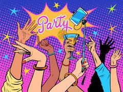 Stock Illustration of Party dancing selfie drinks