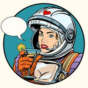 love woman cosmonaut cocktail - stock illustration
