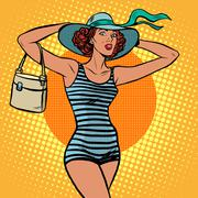 Girl retro bather - stock illustration