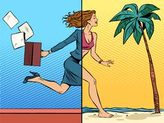Business woman dreaming about vacation at sea - stock illustration