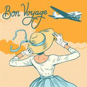 girl passenger plane Bon voyage - stock illustration