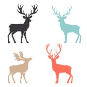 Silhouette deer with great antler animal vector illustration Stock Illustration