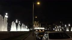 4K Famous Magic Fountain light turn off night Barcelona landmark traffic street  Stock Footage