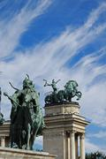 Statues of Seven Chieftains of the Magyars, Hereos' Square, Budapest, Hungary Stock Photos