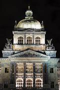 Close-up of domed roof of the National Museum at night, Prague, Czech Republic - stock photo