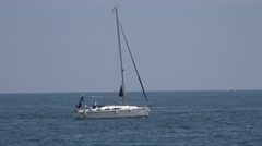 4K Beautiful yacht sail sea exploration journey peaceful place tranquil water  Stock Footage
